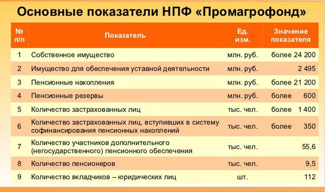 Основные показатели НПФ